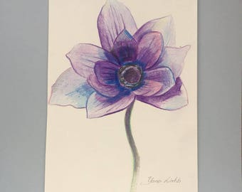 Purple  flower drawing colored pencil drawing framed