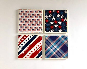 Patriotic Tile Coaster Set of 4, Red White and Blue Independence Day/ Fourth of July Coaster Set- Set of 4- Home Decor, Ceramic Coaster Set