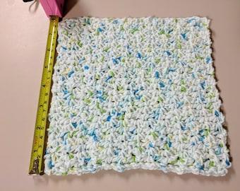 """8"""" Spider Stitch White Variegated 100% Cotton Dishcloth or Washcloth"""