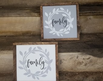 Family Wreath Wooden Sign 11x11