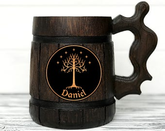 Tree Of Gondor Mug. Lord of the Rings gift. Hobbit Mug. Custom Beer Steins. LOTR Gift Frodo Wooden Beer Tankard. Gondor Mug. Hobbit Gift #77