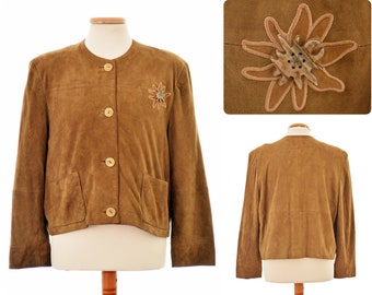 Austrian Trachten JACKET made of goatsuede, by BERWIN & WOLFF / womens size Eur 44, Large / brown colour / antler buttons