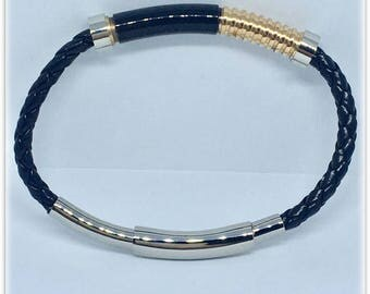 Steel bracelet and Analergico leather