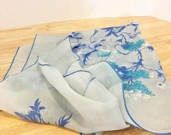 Vintage Silk Scarf / Blue and White Silk Scarf / Vintage Fashion / Vintage Accessories / Mid Century Fashion / Flower Scarf / Silk Accessory