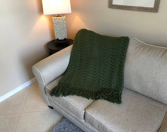 Olive Green Shell Pattern Afghan