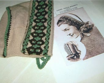 Dutch Bonnet from 1930/40's knitting pattern.
