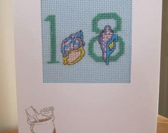 Cross Stitch card with No18 and Shells