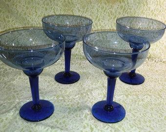 Vintage, cobalt blue margarita glasses