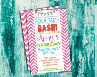 Pool Party Chevron Birthday Invitation