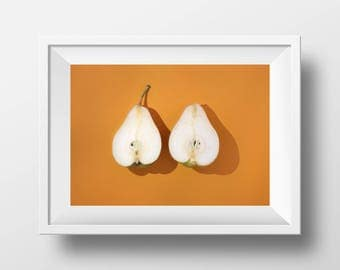 Print of orange still life with pears