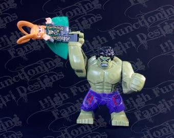 Loki and Hulk Minifigures in funniest scene from the Avengers movie. Set of 4- 5 x 7 Photo prints. Puny God, geek, Marvel, fandom