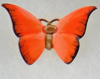 Vintage Original by Robert Butterfly Brooch Pin with Orange & Black Enamel Wings