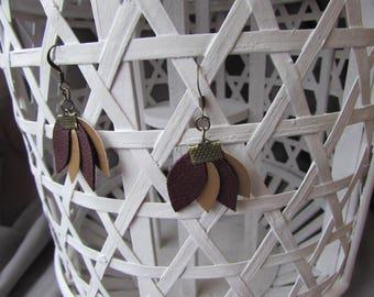 """Earrings """"Versailles"""" Burgundy and bronze"""