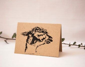 Alpaca, Greetings Cards, Hand Printed, Linocut