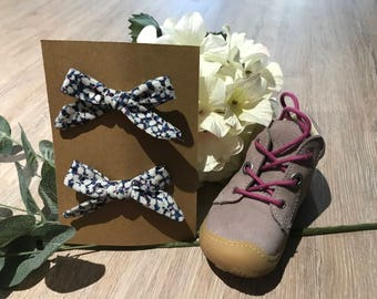 Liberty rossmore cord simple schoolgirl bows - set of 2 hand made bows on alligator clip - baby bow hair clips