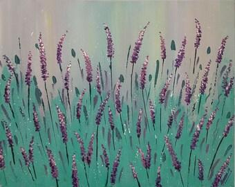 Aqua Lavender medium canvas