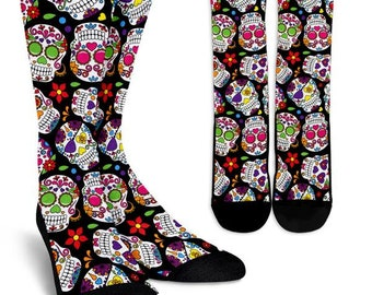 Sugar Skull Crew Socks, Custom Printed Socks, Novelty Socks, Cute Socks, Cool Socks, Funny Socks, Fun Socks, Unique Socks