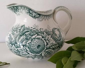 Antique french pot.French pitcher .Saint Amand pot.Faience pot.