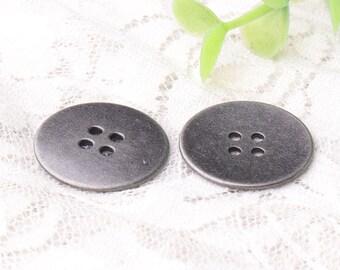 4 holes sewing buttons 10pcs 23mm round light black zinc alloy buttons metal buttons shirt buttons