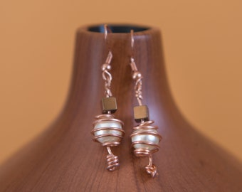 Freshwater pearls wire wrapped copper earrings