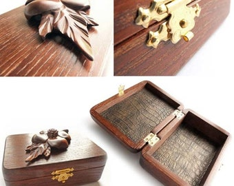 Amazing casket Flower Jewelry organizer Rustic casket Carved Wooden jewelry box Jewelry box Jewelry casket Earrings and bracelets storage