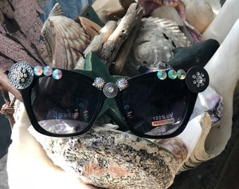 One of a kind, black, bling, UV protected sunglasses