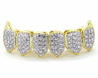 18K Gold & SilverTwo Tone Plated High Quality CZ Fang Bottom Row GRILLZ Mouth Teeth
