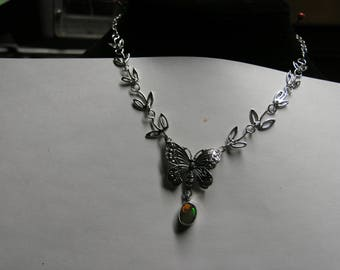 1000-51 Sterling Butterfly Necklace With Ethiopian Opal