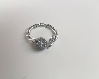 wire wrapping silver ring with small bead