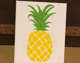 "Pineapple Wall Art, Pineapple Canvas 8""x10"", Pineapple Painting, Home Decor"