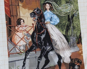 Handmade Tapestry Gobelin The riding lady/ The rider
