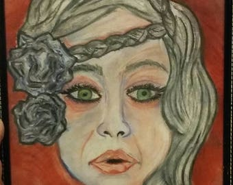 My summer girl- Original art hand drawn with Rembrandt pastels- Framed and ready to go!