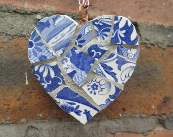 Blue mosaic heart