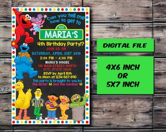 Sesame Street Invitation,Sesame Street Birthday,Sesame Street Birthday Invitation,Sesame Street Party,Personalized,Digital Download