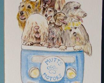 MOTORMUTTS VW CAMPERVAN dogs Blank Greetings Card from original watercolour artwork by Sara Tuckey