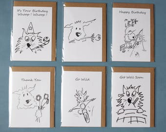 6 Greetings Cards .Assorted ,blank ,Dogs ,Funny,Birthday, Mothers day,Get Well soon,driving,thank you,cat,motorbike,biker