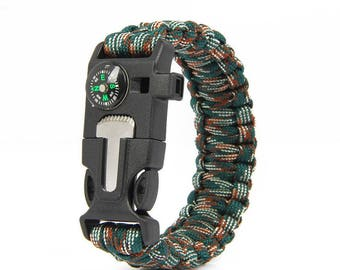 Survival Paracord Bracelet 5 in1 (Woodland Camo)
