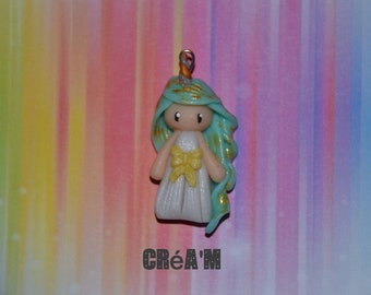 Poppet with polymer clay Unicorn dress white, Green - Collection of tales and legends - hair jewelry handmade
