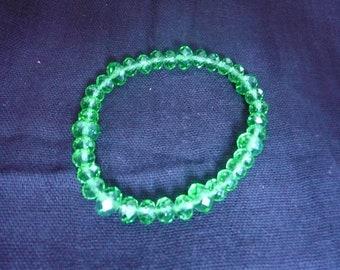 Green Crystal Bracelet on elastic