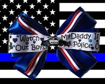Daddy's a Police Officer Hair Bow