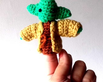 Yoda Star Wars Finger Puppet Amigurumi Crochet Knit Soft Toy Plush Doll FREE SHIPPING