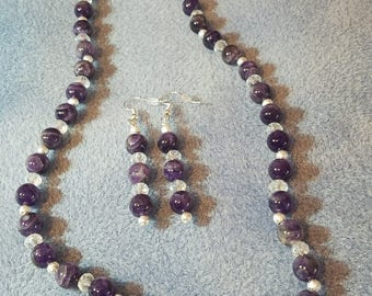 Genuine Amethyst and Crystal Necklace and Earring set