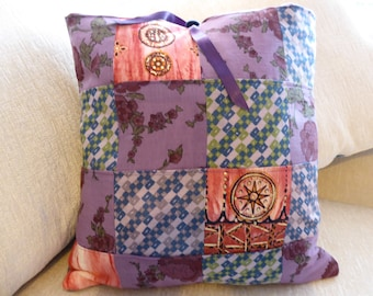 Handmade Patchwork Cushion using recycled Indian Fabrics