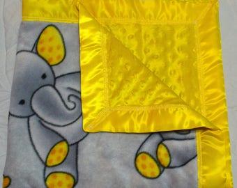 Baby elephant blanket with yellow minky backing