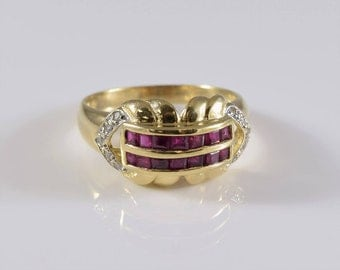 Vintage 14K Gold Ruby and Diamond Ring Size 6 3/4