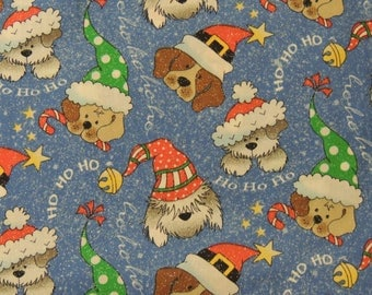 """1/2 YD - 44"""" Glittery Christmas Dogs Cotton Fabric"""