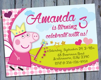 Peppa Pig Party Invite, Princess Peppa Pig Birthday Card Invitation, Peppa Pig Printable, Digital Invitations, George Custom Printables