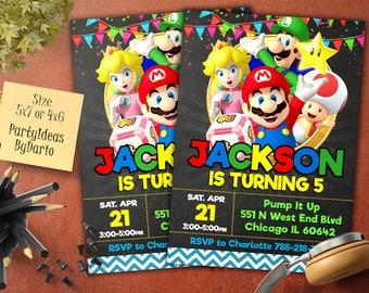 Super Mario invitation, Super Mario birthday, Super Mario birthday invitation, Super Mario Invite