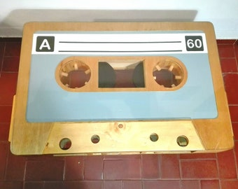 Coffee table shaped like a cassette tape