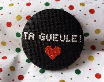 Brooch embroidered TG
